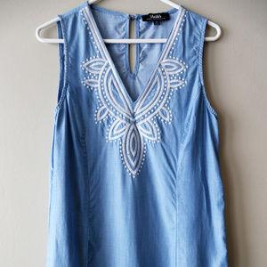 Lulu's Chambray Embroidered Dress Medium